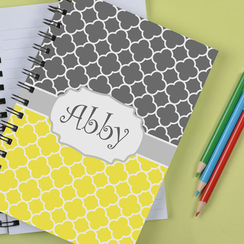 Personalized Lemon Grey Clover Notebook