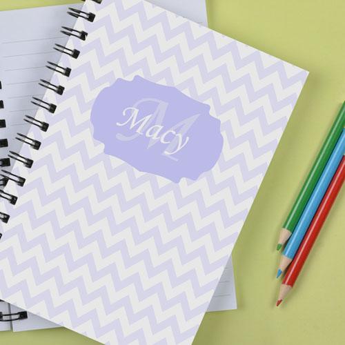 Personalized Pastel Lavender Chevron Notebook