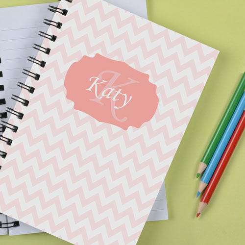 Personalized Pastel Pink Chevron Notebook