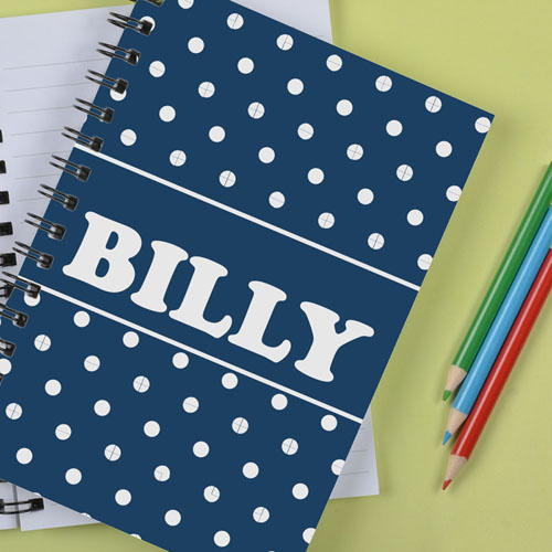 Personalized Navy Dots Notebook