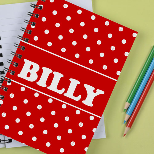 Personalized Red Dots Notebook
