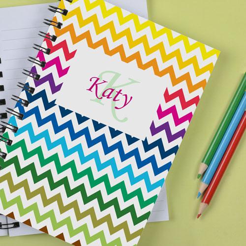 Personalized Rainbow Chevron Notebook