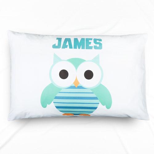 Peacock Owl Personalized Name Pillowcase