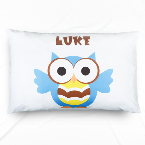 Ocean Blue Owl Personalized Name Pillowcase