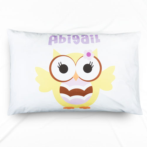 Lemon Owl Personalized Name Pillowcase