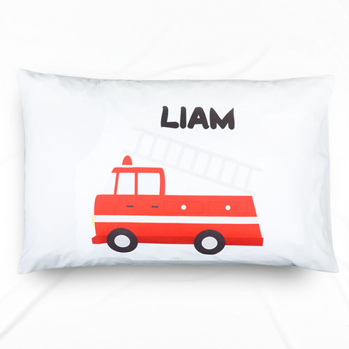 Fire Engine Personalized Name Pillowcase