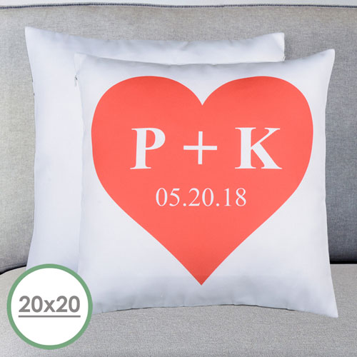 Heart Personalized Large Pillow Cushion Cover 20