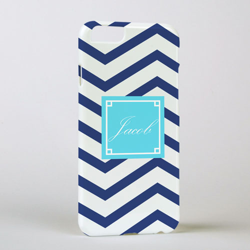 Navy Chevron Personalized iPhone 6 Case