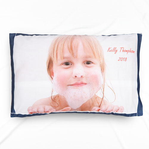 Navy Frame Personalized Photo Pillowcase
