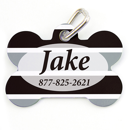 Black Grey Stripe Personalized Dog Tag Bone Shape