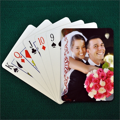 Wedding Poker Size Cranberry Lace Standard Index Playing Cards