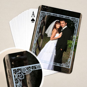Wedding Poker Size Blue Frame Standard Index