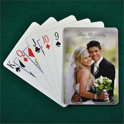 Personalized Wedding Silver Vintage Playing Cards