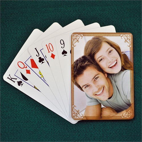 Personalized Wedding Cocoa Vintage Frame Playing Cards