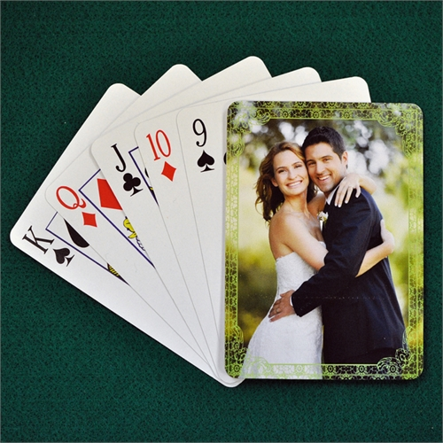 Personalized Poker Size Wedding Green Antique Standard Index Playing Cards