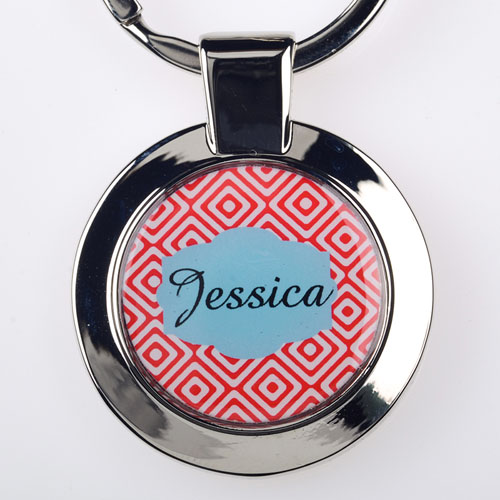 Red Diamonds Personalized Round Metal Keychain (Small)
