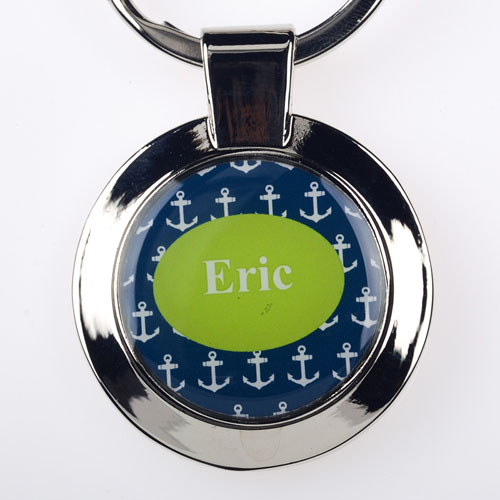 Anchor Personalized Round Metal Keychain (Small)