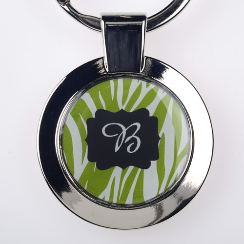 Lime Animal Print Personalized Round Metal Keychain (Small)
