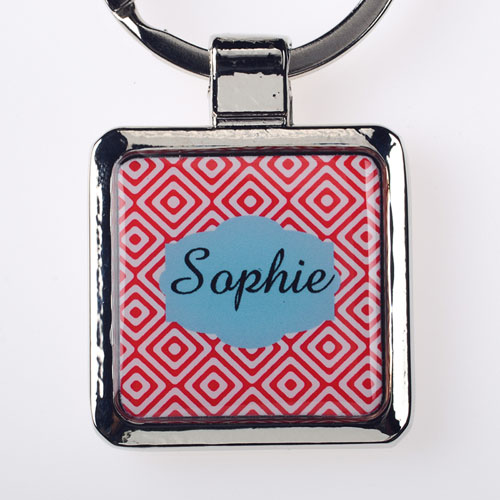 Red Diamonds Personalized Square Metal Keychain (Small)