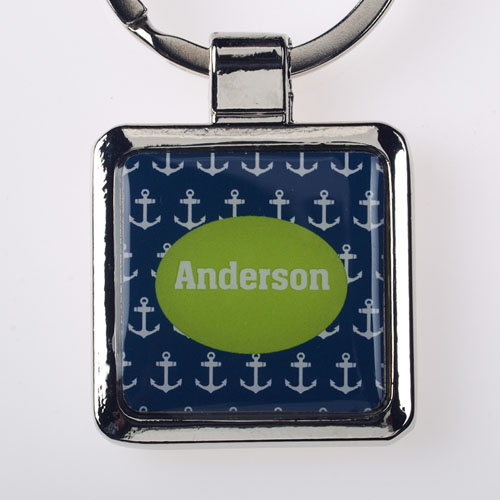 Anchor Personalized Square Metal Keychain (Small)