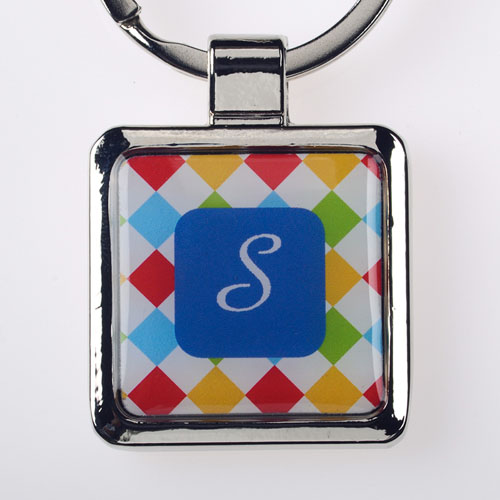 Colorful Grid Personalized Square Metal Keychain (Small)