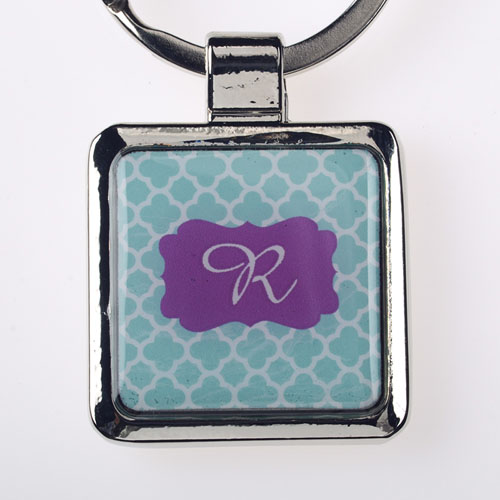 Aqua Clover Personalized Square Metal Keychain (Small)