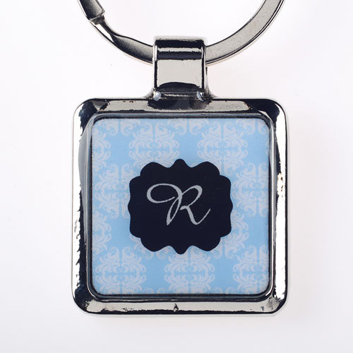 Sea Floral Personalized Square Metal Keychain (Small)