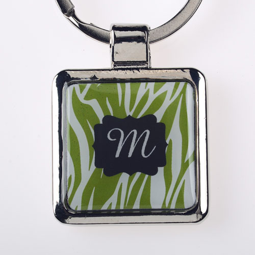 Lime Animal Print Personalized Metal Square Keychain (Small)