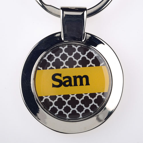 Chocolate Clover Personalized Round Metal Keychain (Small)