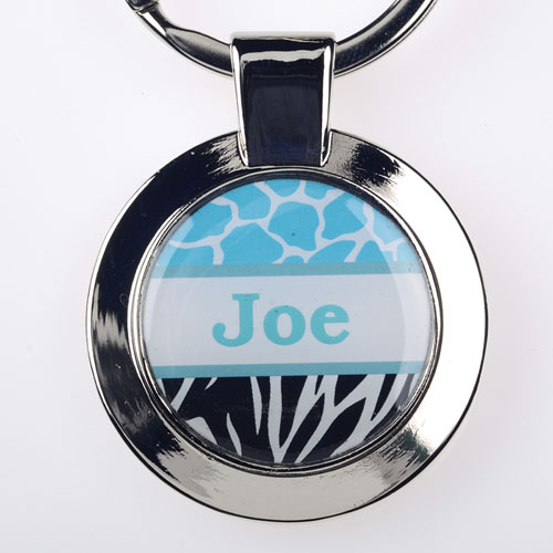 Ocean Black Animal Print Personalized Round Metal Keychain (Small)