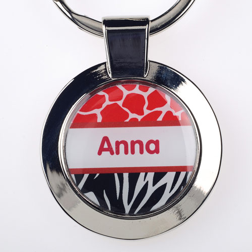 Red Black Animal Print Personalized Round Metal Keychain (Small)