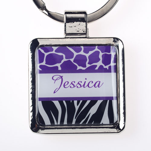 Lavender Black Animal Print Personalized Square Metal Keychain (Small)