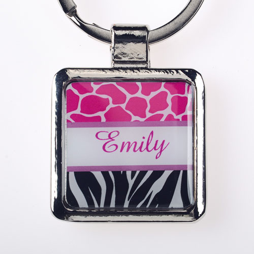 Fuchsia Black Animal Print Personalized Square Metal Keychain (Small)