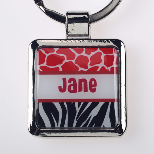 Red Black Animal Print Personalized Square Metal Keychain (Small)