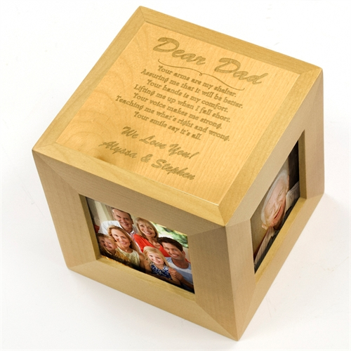 Dear Dad Personalized Engraved Wooden Photo Cube