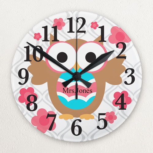 Owl Personalized Frameless Wall Clock For Teacher Custom Printed