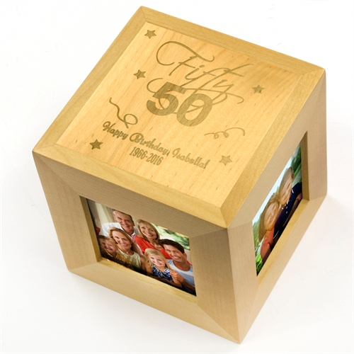 Happy Fifty Birthday Personalized Engraved Wooden Photo Cube