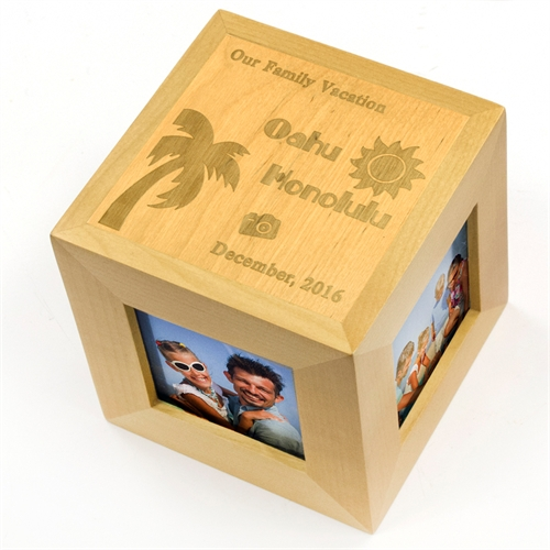 Our Vacation Personalized Engraved Wood Photo Cube