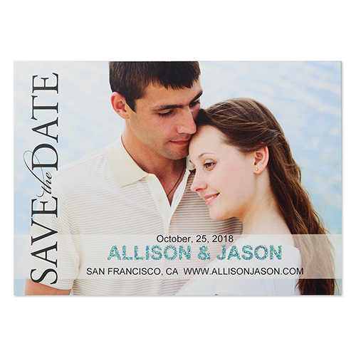 Focus On Forever Glitter Personalized Photo Wedding Announcement 5X7 Cards
