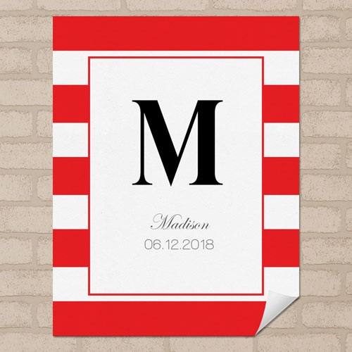 Red Stripe Personalized Name Poster Print Small 8.5