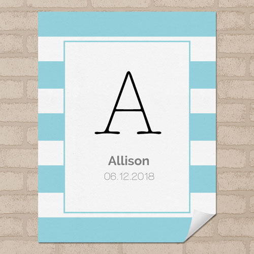 Blue Stripe Personalized Name Poster Print Small 8.5