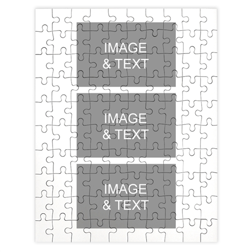 Personalized White 3 Collage Portrait 12X16.5 Photo Puzzle
