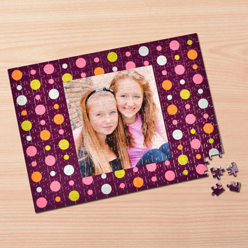 Personalized Colorful Dots 12X16.5 Photo Puzzle