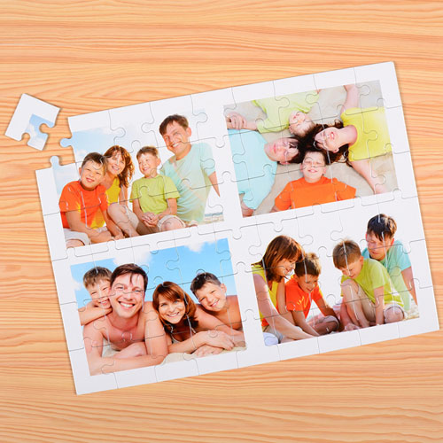 Personalized White 4 Collage 12X16.5 Photo Puzzle