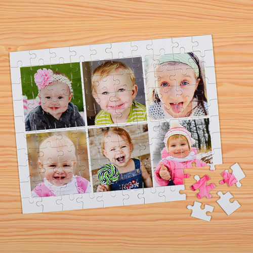 Personalized White 6 Collage 12X16.5 Photo Puzzle