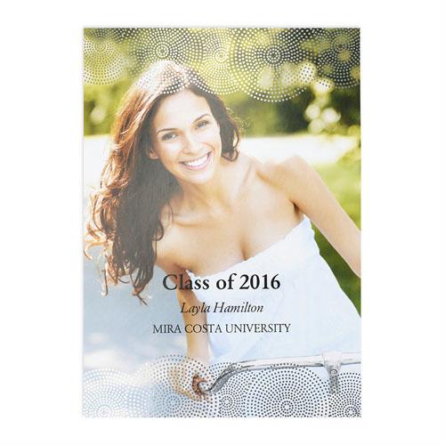 Foil Silver Perfect Graduate Personalized Photo Graduation Announcement Cards