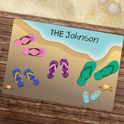 Five Flip Flops Personalized Doormat