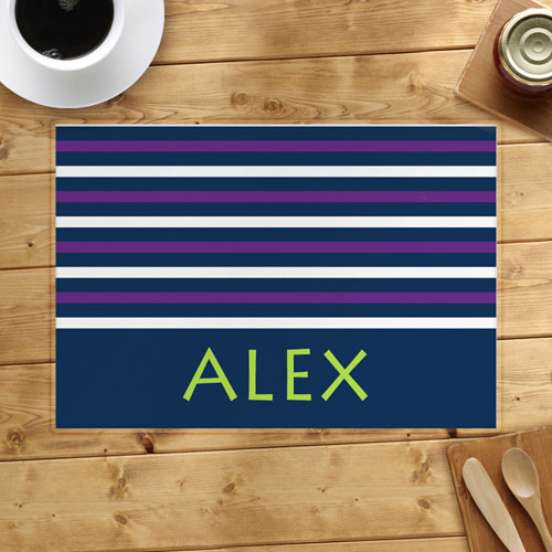Navy White Purple Strip Personalized Placemat