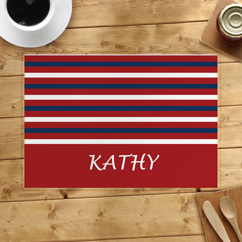 Red White Navy Strip Personalized Placemat