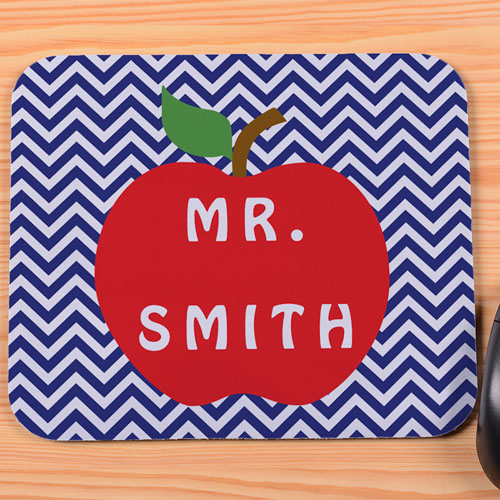 Create Your Own Navy Chevron Apple Mousepad